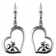 7185 Heart drop earrings with shamrock detail