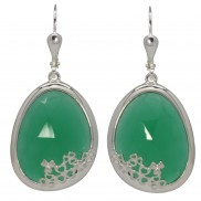 Shamrock Earrings Choose Green Onyx or Sodalite - 7196