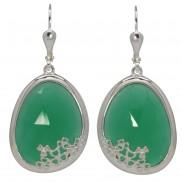 Shamrock Earrings Choose Green Onyx or Sodalite - 7196