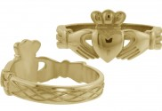 Gents Claddagh Ring with Celtic Weave Band - 8128