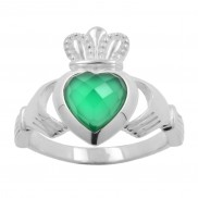 Sterling Silver Claddagh Ring with Green Onyx 8131