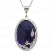 Claddagh Pendant Choose Green Onyx or Sodalite - 8260