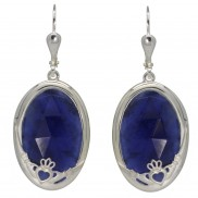 Claddagh Earrings Choose Green Onyx or Sodalite - 8760
