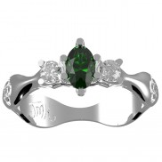 Gemstone ring with choice of Diamond Emerald or Sapphire - 153