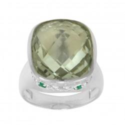 Green Amethyst and Green Agate Shamrock Ring 1160