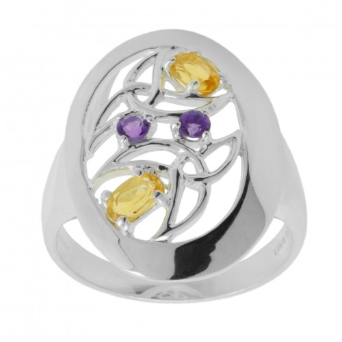 Amethyst and Citrine Trinity Knot Ring
