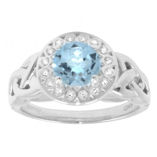 Blue Topaz and White CZ Halo Ring
