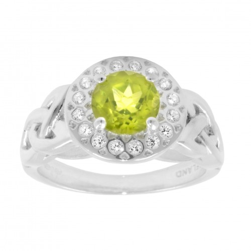 Peridot and CZ halo ring 1163