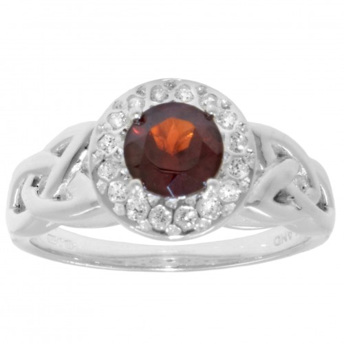 Garnet Halo Ring with White CZs