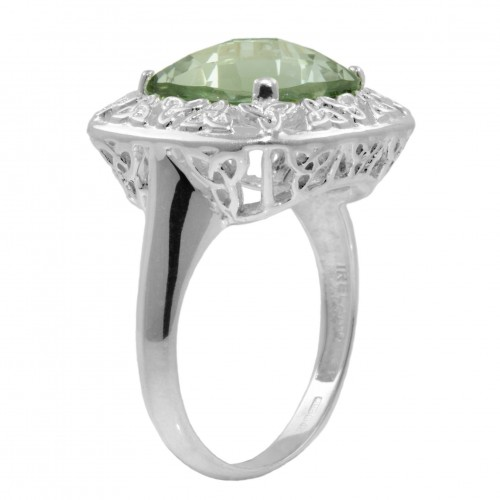 Green amethyst and trinity ring 1167 Side View