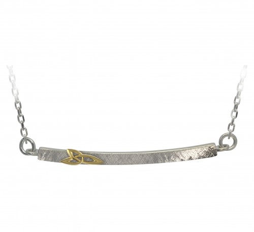 Sterling Silver Trinity Knot Necklet with Gold Plate Accent