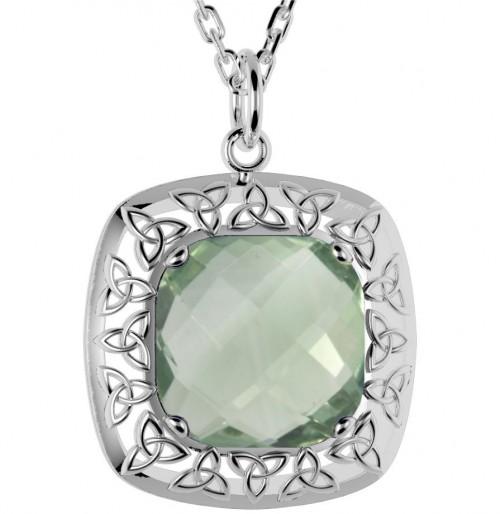 Green Amethyst Trinity Pendant