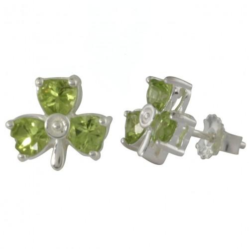 1.20cts Peridot Shamrock Earrings