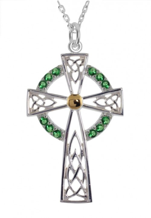 6030 Cross Pendant with Green CZ's