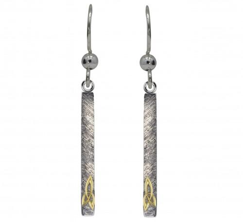 Silver Long Trinity Knot Earrings