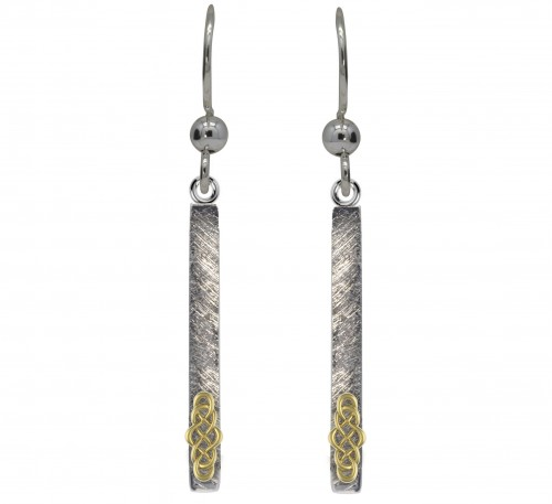 Silver Long Celtic Weave Earrings