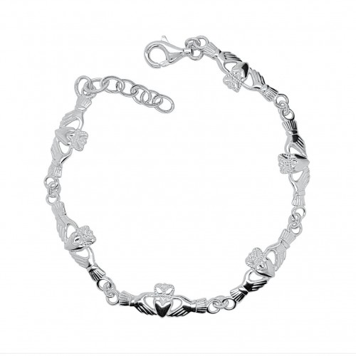 Sterling Silver Claddagh Bracelet with extender chain.