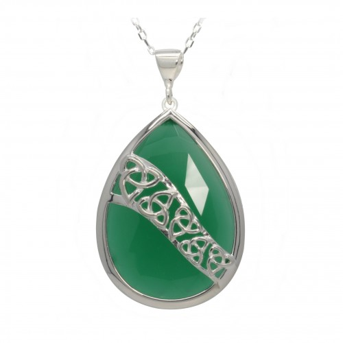 Trinity Knot Pendant with Green Onyx 2202