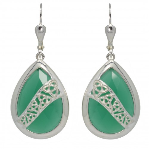 7195 Trinity Knot Earrings with Green Onyx