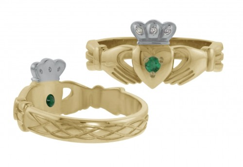 8130 Claddagh Ring with Diamonds and Emerald