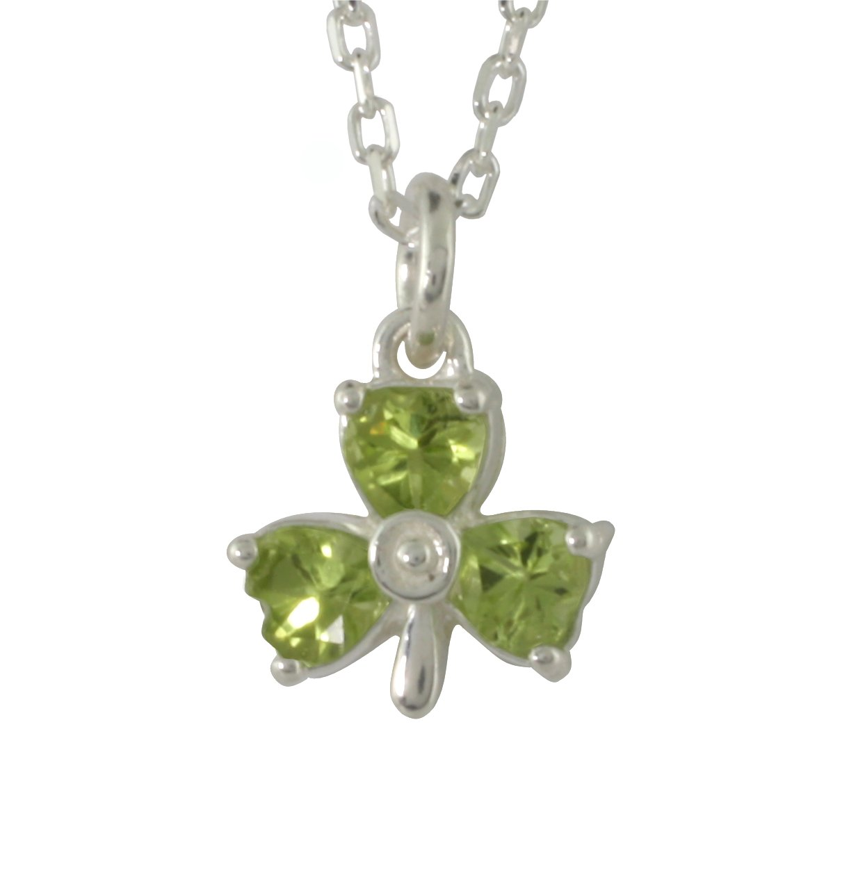 Heart shape peridot set in a shamrock pendant