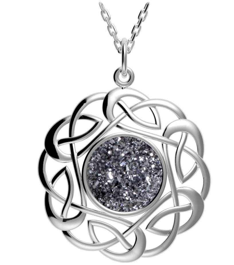 Platinum Drusy Sterling Silver Celtic Heart