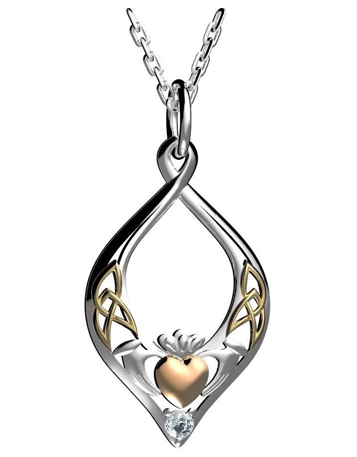 Silver Claddagh Pendant with Rose Gold Heart And Yellow Gold Celtic Weave