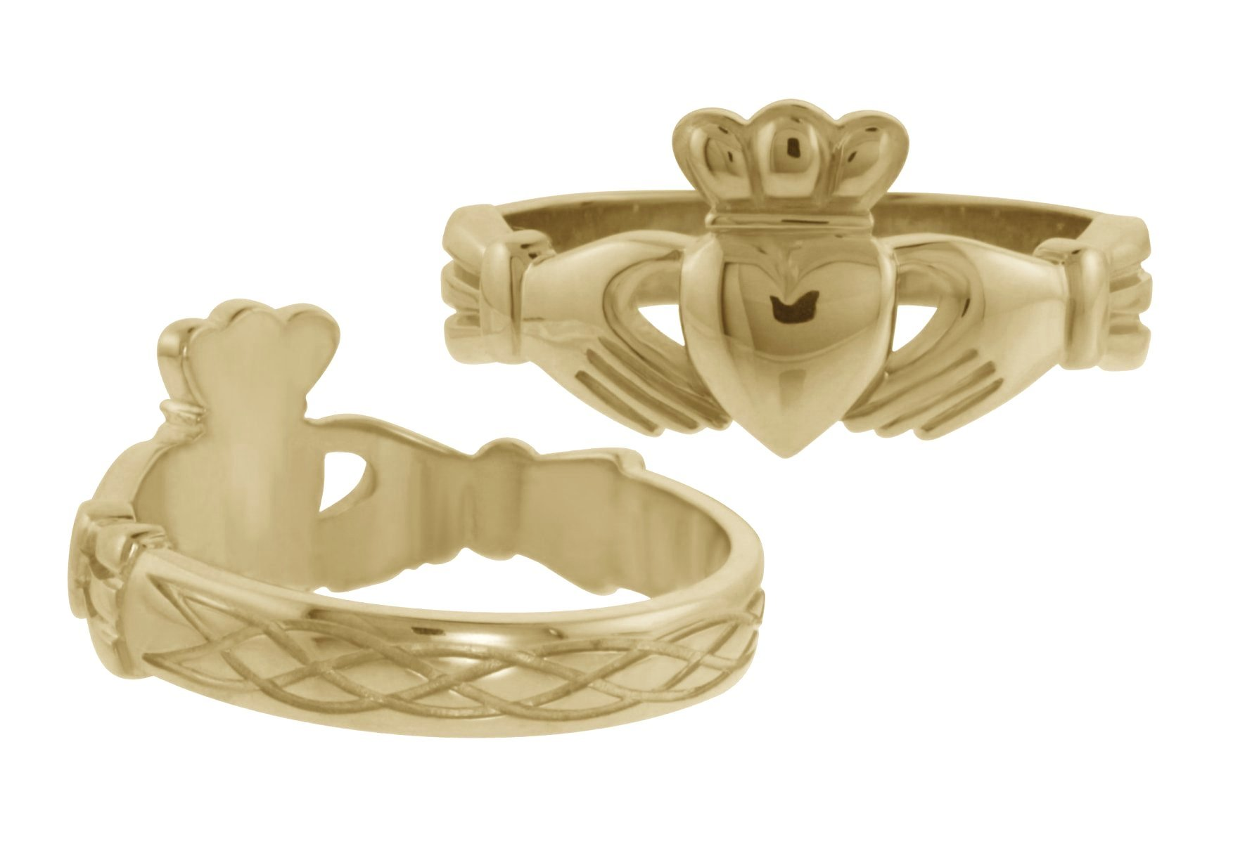 Gold Claddagh Ring with Celtic Design